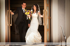 Coming Out the Temple Doors (Laura K Bellamy) Tags: wedding weddings mormon temple bride groom happy