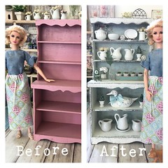 I found this vintage handmade hutch on either eBay or Etsy several years ago. The pink was pretty bright and although I really liked it, I didn't LOVE it. Now I do!!! (JunqueDollBoutique) Tags: playscale dining room hutch redo diorama dio one sixth scale grace kelly barbie junque doll boutique ooak shabby cottage chic farmhouse french country home decor ironstone