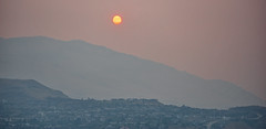 The sunrise is really red/orange from the forest fire smoke this morning, Coldstream BC (Out-of-Doors Photos in Coldstream B.C.) Tags: sun redorange forest fire smoke okanaganvalley coldstreambc vernonbc bc forestfiresmoke forestfire
