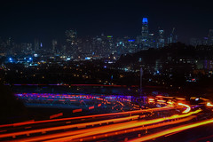 sf bike coalition social ride (pbo31) Tags: sanfrancisco california nikon d810 color city urban august 2018 summer boury pbo31 night dark black traffic lightstream roadway motion over view bernalheights bernalhillpark skyline salesforce bike ride social