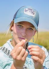"Shooting ""on the fly."" (nevadoyerupaja) Tags: creek girl summer fish outdoors flyfishing portrait usa wyoming refuge flatcreek marymorganbeavers"