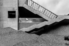 DSC04292 (ZoRRaW photography) Tags: luxembourg buildings city kirchberg shape wall walling concrete stone glass stairs blackandwhite