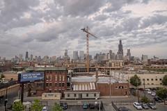 _1023636 L&H View 4r (CoriJae) Tags: lyonhealy chicago skyline dusk crane sunset clouds architecture buildings aerialview summer illinois urban cityscape northside ogden