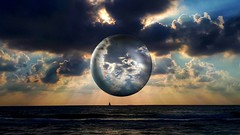 A globe over sea (Iforce) Tags: globe star sea ocean wallpaper landscape planet imagine montage art