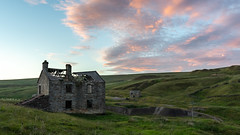 Groverake Mine Sunset (Dean Conley) Tags: nikon nikond7200 bracketing groverakemine mine derelict old ruin house collapsed roof firesky sunset tokina1120mmf28 wideangle weardale rookhope hills clouds colourful northeastengland history abandoned bando urbex