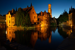 Medieval Bruges at Night (Rob Shenk) Tags: europe europe2018 vacation rozenhoedkaai belgium bruges brugge night evening reflections reflection architecture history canal tripod travel long exposure longexposure nightphotography