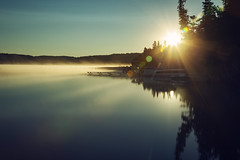 Sunny Morning Lake Fog (matthewkaz) Tags: fog weather sun lake water limelake reflection reflections silhouette trees boat pontoonboat cedar maplecity leelanau summer michigan puremichigan 2018 mist
