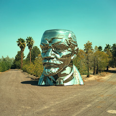 everybody loves lenin. mojave desert, ca. 2018. (eyetwist) Tags: eyetwistkevinballuff eyetwist lenin chrome shiny head sculpture newberrysprings california mojavedesert xpro film analog analogue mamiya6mf mamiya75mmf35l 75mm kodak ektachrome e100vs lenstagger kodakektachromee100vs crossprocessede6toc41 crossprocess crossprocessed mamiya 6mf ishootfilm emulsion mamiya6 square 6x6 mediumformat 120 ishootkodak 100vs epsonv750pro cross process processed saturated contrast missmaotryingtopoiseherselfatthetopofleninshead missmao vladimir chromed steel bust art political gaobrothers china soviet barstow palmtrees mojave desert
