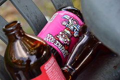 Even a jerkface knows you should recycle (James_D_Images) Tags: empty bottle beer beverage bottles recycling jerkface9000 amber short long neck label pink red grey closeup sooc