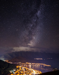 Milky way above Queenstown New Zealand (Mantas Volungevicius) Tags: backgrounds beauty nature city life cityscape environment famous place galaxy high angle view horizontal illuminated island journey lake wakatipu landscape meteorology milky way mountain peak range new zealand night no people otago region outdoors panoramic photography queenstown scenics sky snow south star space shape trail stratosphere remarkables tourism tourist town tranquil scene travel destinations vacations winter skyline nikon d7000 stars clear nightlights