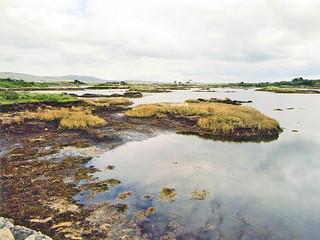 Irlande, étangs et champs de Tourbe dans le Connemara