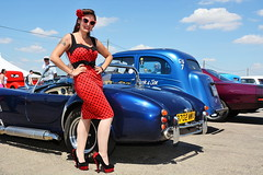 Holly_2215 (Fast an' Bulbous) Tags: classic custom car vehicle automobile hotrod show santa pod dragstalgia people outdoor girl woman pinup model hot sexy wiggle dress high heels long brunette hair nylons stockings