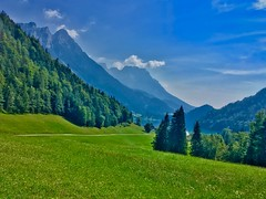 Hintersteiner See with the Alps in Tyrol, Austria (UweBKK (α 77 on )) Tags: österreich austria tyrol tirol europe iphone hintersteiner see lake water mountains alps trees forest grass green reflection sky blue clouds valley