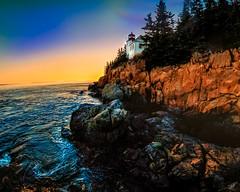 Sundown at Bass Harbor Light (nixter) Tags: 8mm scenic acadia fisheye fisheyefun light lighthouse maine nationalpark nature ocean rocks rokinon scene sea sunset waves