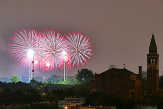 Mid Summer Fireworks Seen From Central Montreal Roof