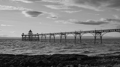 monochrome sunset (SCRIBE photography) Tags: uk england somerset clevedon pier victorian black white monochrome clouds sun sea sky seascape landscape rocks water