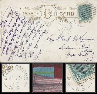 Nova Scotia / Cape Breton Postal History - 15 - 17 August 1910 - LOCH LOMOND (Richmond County), N.S. via SYDNEY (Cape Breton County), N.S. via MARION BRIDGE (Cape Breton County), N.S. to Salmon River Mira (Cape Breton County), N.S.