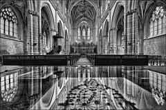 Reflets dans l'abbaye (Des.Nam) Tags: bw blackwhite nb noiretblanc monochrome mono abbaye église culte reflet reflets desnam somme striquier