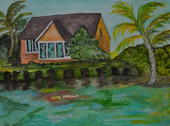 House on the River -by Mom (BKHagar *Kim*) Tags: bkhagar art artwork painting paint acrylic house water river artday mom