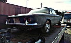 Farm fresh (Dave* Seven One) Tags: chevrolet corvair chevroletcorvair rearengine aircooled farmfresh rusty rust abandoned forgotten junk salvage 1960s car sedan chrome pitted