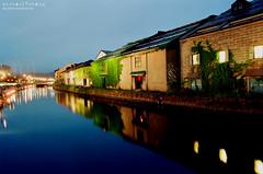 Canal at Otaru ([M!chael]) Tags: nikon f3hp nikkor 2420 ais kodak ultramax400 film manual japan hakodate canal otaru night water 小樽 おたるし