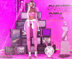 Super Girl (RoxxyPink) Tags: roxxypink roxxy pinkfashionuschies fashion uschies fashionblog blog fashionblogger blogger blogging blogspot secondlifeblog secondlifeblogger secondlife second life sl 2ndlife virtuallife virtualworld world virtual avatar ava avi style styling mesh meshhead head catwa catya meshhair hair taketomiwest meshbody body maitreya meshclothes clothes clothing blueberry blond blonde sexy girl kc meshheels heels animoto backdrop background pose poses poser posing neon fan accessevent event access fair thechapterfour the chapter four