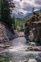 Kennedy River Canyon & Mountains (MIKOFOX ⌘ Thanks 4 Your Faves!) Tags: canada river britishcolumbia falls xt2 water rcks vancouverisland learnfromexif july forest landscape provia boulders rapids fujifilmxt2 mikofox showyourexif summer xf18135mmf3556rlmoiswr