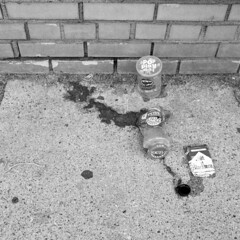 pop-play-eat (kaumpphoto) Tags: rolleiflex 120 tlr hp5 ilford bw black white street urban city food trash minneapolis salsa package pop play eat pace pringles marlboro cigarette smoke broke broken glass jar cap logo sidewalk cement brick wall hot chunky sand cheddar cheese canister container lid