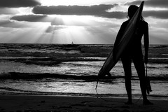 Miss Surfer (Ivona & Eli) Tags: girl surfer mediterranean waves clouds rays light sunset seascape sea bw monochrome