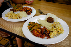 TK's Produce & Market Vegan/Vegetarian Buffet - Indian - Eggplant - Baingan bharta, Mediterranean, Malay Veggie Fish, and Carrot Rice (sheryip) Tags: buffet malay indian food foodporn morgantown wv wvu sher yip tks tk produce