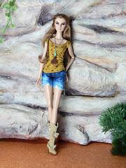 Boho Days – the ochre flower print shirt and jeans shorts (Levitation_inc.) Tags: ooak doll dolls clothes handmade fashion fashions royalty nuface integrity toys levitationfashion etsy barbie barbiestyle poppy parker summer boho 2018