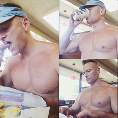 shirtless lunch (ddman_70) Tags: shirtless muscle pecs abs fastfood restaurant eating