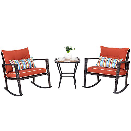 Cheap TANGKULA 3 PCS Patio Rattan Wicker Furniture Set Outdoor Garden Glass Top Coffee Table & Rocking Wicker Chair Set w/Red Cushions (red)