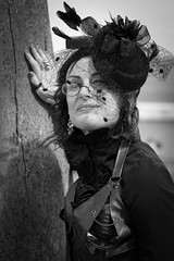 Portrait from the Whitby Steampunk Weekend IV - Days Like These (Gordon.A) Tags: yorkshire whitby steampunk whitbysteampunkweekend iv dayslikethese wsw july 2018 convivial creative costume culture lifestyle style fashion lady woman people street festival event eventphotography amateur streetphotography pose posed portrait blackandwhite bnw bw mono monochrome monochromatic naturallight naturallightportrait digital canon eos 750d sigma sigma50100mmf18dc