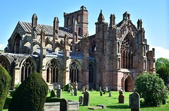 Melrose Abbey church (orientalizing) Tags: 15thcentury 1146ad abandoned archaia architecture cistercians gothic melroseabbey ruins scotland