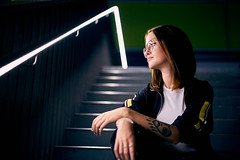 Laura (Marc R. A.) Tags: portrait woman light lines stairs nightphotography night