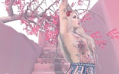 Pastel 価む猿 (PAPIKANA) Tags: pastel secondlife second life goth pink vibrant backdrop backdrops photography gamephotography sl backdropcity drop cherry cheryblossom tree stairs