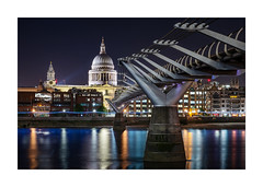 Millennium Bridge to St.Pauls (Dave Fieldhouse Photography) Tags: church monument colourful reflections cathedral stpauls landmark london millenniumbridge bridge thames riverthames night nighttime lights illumination city cityscape urban britain england uk footbridge dome photography photo24london buildings architecture fuji fujifilm fujixpro2