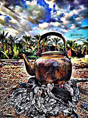Camping Time (haidarism (Home Sweet Home)) Tags: tea burning coal camping camp breakfast outdoor cloud palmtree tree huawei early morning create creation creative art artistic