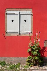 Humeur estivale (CrËOS Photographie) Tags: fenêtre fermé coeur fleur rouge village ville rue été fleurs