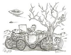 Dimension Z (rod1691) Tags: myart art sketchbook bw scfi grey concept custom car retro space hotrod drawing pencil h2 hb original story fantasy funny tale automotive illustration greyscale moonpies sketch sexy voodoo