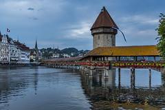 Lucerne on Swiss National Day (acase1968) Tags: switzerland luzern lucerne kapellbrücke chapel bridge covered wooden footbridge reuss nikon d750 nikkor 2485mm blue hour dusk swiss