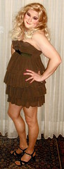 brown party dress (Martina H.) Tags: woman girl dress party cocktail brown blonde elegant