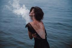 Smokanagan (Lichon photography) Tags: smoke smoking melancholy witch winter witchcraft summer kelowna water lake girl woman model dress lace henna moody nymph sprite throughherlens