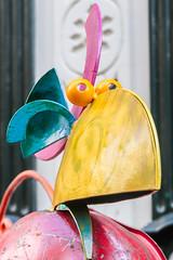 Strange bird seen in Drakenburgstraat, Utrecht (natures-pencil) Tags: utrecht nederland netherlands bird junk humorous colourful zany odd art creative selectivefocus drakenburgstraat sculpture kringloop