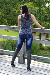 Chrissi 23 (The Booted Cat) Tags: sexy teen girl model tight blue jeans denim boots overkneeboots heels highheels brunette hair