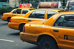 Yellow cabs (erichudson78) Tags: usa nyc newyorkcity broadway canoneos5d canonef24105mmf4lisusm yellowcab yellow taxi fordcrownvictoria ford car voiture street rue town ville reflection reflets urbanreflection 7dos colourfulthursday jaune streetphotography scènederue manhattan midtown