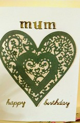 Happy Birthday Mum (Daisygirl Art 123) Tags: handmadecards handcraftedcards handmade hearts grey sparkle glitter happy birthday heartshape