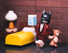 Batman's Bedtime Routine (Jezbags) Tags: batman bedtime routine dc dclego legodc lego legos toy toys teddy bear milk bed lamp macro macrophotography macrodreams macrolego canon canon80d 80d 100mm