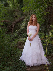 Emily MM (Sharon G Vaughn known as Viva Forza Photography) Tags: beauty natural skin wedding dress foilage forrest grass green lace lilys man pavement redhair roas running trees woman yellowlines